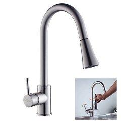 auralum miscelatore cucina rubinetto alto con doccetta estraibile monocomando cascata lavello ottone cromo per cucina