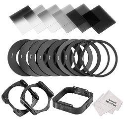 Neewer quadrato lenti e kit di accessori per Cokin P Series: 6pieno e graduale ND2ND4ND8filtri, 9anelli adattatori (49–82mm), 1par