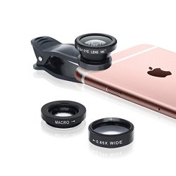 【Regalo Soluzione】Sincewe Lenti 3 in 1 Kit Clip-On Universale per Smartphone, Obiettivi Cellulari kit con Fisheye 180 gradi, 0.65X Grangolo e Obie