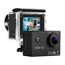 Action Cam Full HD 1080P, 16MP, 1350mAh Batteria Ricaricabile, 170 º Grandangolare, 2.0 Pollici LCD Action Camera Sport con 30M Custodia Impermeabile