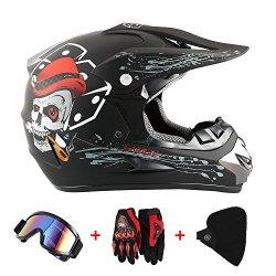 O T Standard Bambini Quad Bike ATV Go Karting Casco S AMITD Casco da Motocross Bambini,Moto Motocross caSchi e Guanti e Occhiali D Black