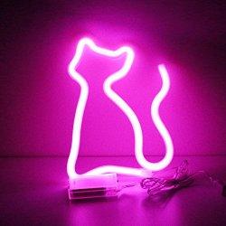 XIYUNTE Gatto Neon Signs Luci notturne - Rosa LED...