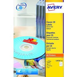Avery, 50 etichette (25 fogli x 2), colore Bianco