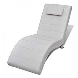 Chaise Longue bianca 2 piedini con poggiatesta