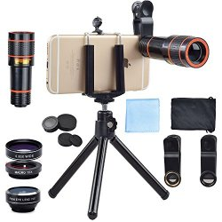Apexel 4 in 1 Clip-On kit dellobiettivo, 12X...