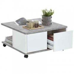 FMD Tavolino da Caffè con Ruote Cemento e Bianco...