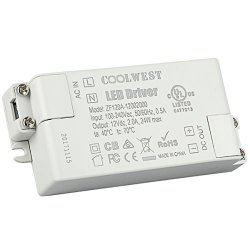 COOLWEST 24W Trasformatore LED Driver 12V DC 2A,...