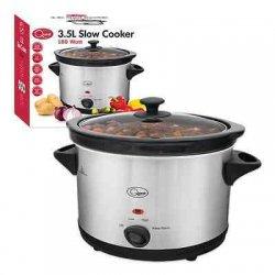 NEW 3.5 Ltr Premium Sliver Slow Cooker Pot with...