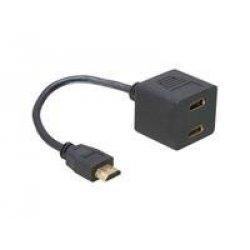 Delock HDMI 1x St > 2x Bu 0.20m, 65056