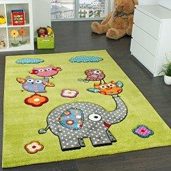 Tappeto Per Bambini Con Elefante Gufi Fiori Amici...