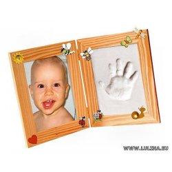 Kit cornice portafoto foto in legno impronta...