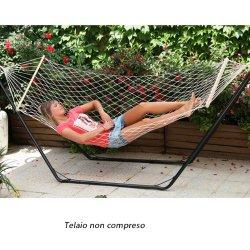 Amaca a rete per giardino con assi in legno...