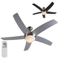 QAZQA Ventilatore da soffitto con luce e...
