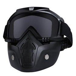 Casco da moto con occhiali, maschera rimovibile,...