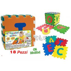 TAPPETINO TAPPETO PUZZLE LETTERE GOMMA SET 18...