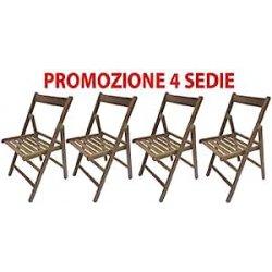 4 sedie pieghevole sedia birreria in legno noce...