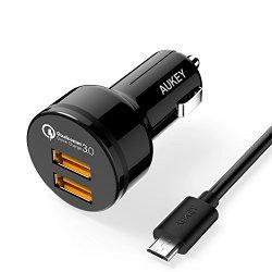AUKEY Quick Charge 3.0 Caricatore per Auto di Due...