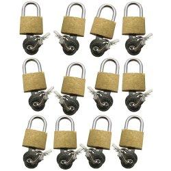 Set di lucchetti in ottone, 20 mm, con chiavi, 12...