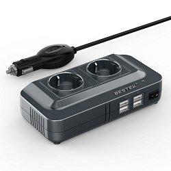 BESTEK 200W Inverter da Auto 12V-230V con 4 Porte...