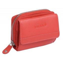 Mini-portafoglio OTARIO, Vera Pelle, rosso 9x6,5cm