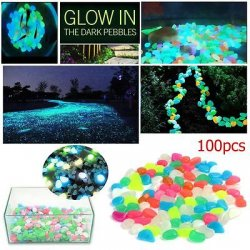 100 MIXED GLOW IN DARK PEBBLES STONES LUMINOUS...