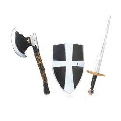 Scudo, spada e ascia da cavaliere medievale