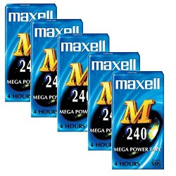 Scatola di 5 Maxell m 240 VHS Blank video VHS...
