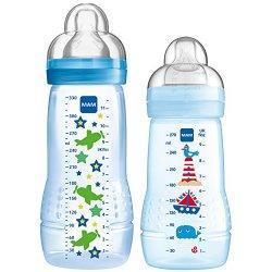 MAM, Set di biberon, 270 ml e 330 ml, Blu (blau),