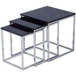 Charisma, colore nero lucido/Cromo di tavolini