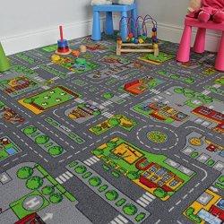 Tappeto gioco per bambini con mappa strade e...