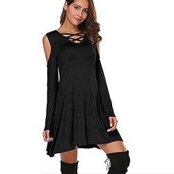 Zolimx Dress Autunno Abito Donna Cross Neck off...