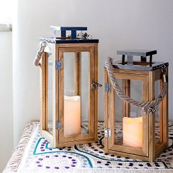 Lanterna in legno con candela LED a pile e manico...