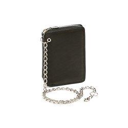 Portafoglio con tasca laterale a zip e catena...